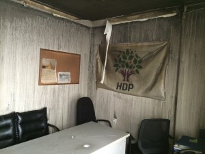 The burnt HDP headoffice in Ankara, Photo/HDP