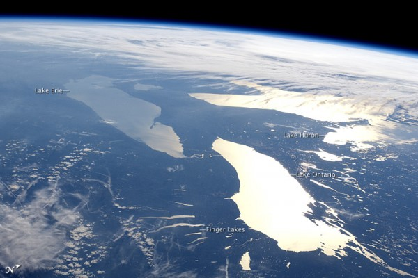 Earth in daylight, from ISS in 2012. The U.S. Great Lakes shine in the sun.  Read more about this image.