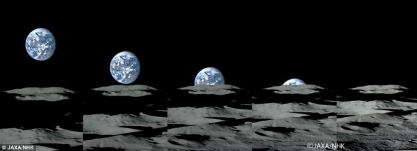 Another image from ___, which captured the Japanese craft got footage and stills of Earth setting.  Remember that, if you were on the moon, you would not see Earth rise or set.  But spacecraft in orbit around the moon do experience this scene.