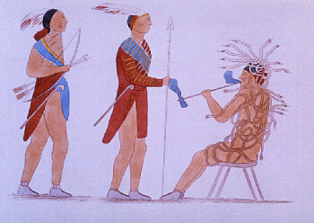 Drawing: 3 men in Native American garb, 2 standing and 1 seated wrapped in snakes.