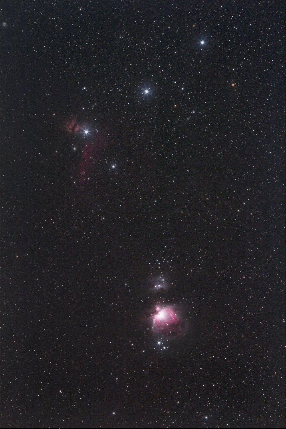 View larger. | Three medium-bright stars in a short, straight row represent Orion's Belt.  A curved line of stars extending from the Belt represents Orion's Sword.  The Orion Nebula lies about midway down in the Sword of Orion.  Photo by EarthSky Facebook friend Marian McGaffney.