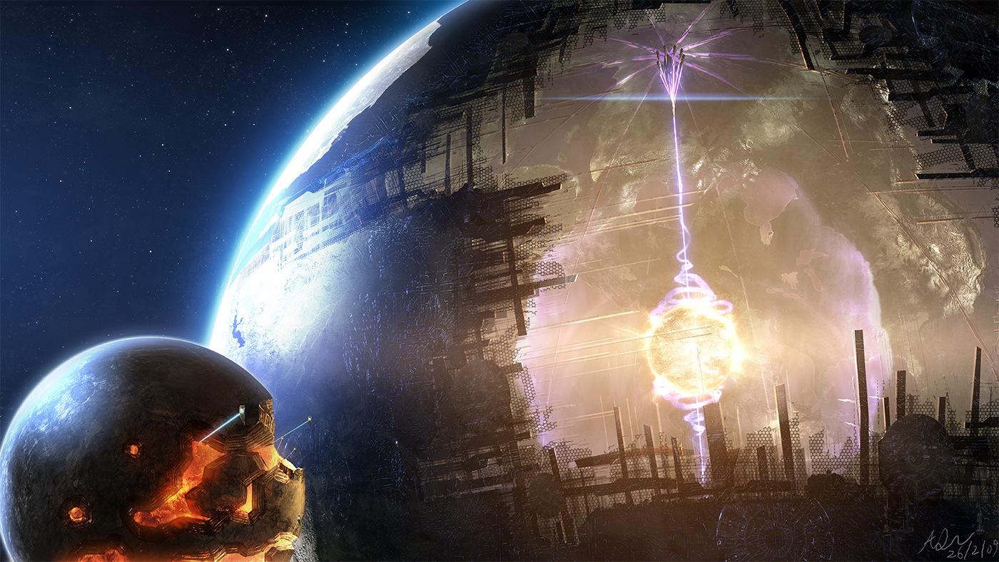 View larger. | Here is a completely fantastic artist's concept of a Dyson sphere.  I like it.  Notice the little moon on the left side, being ravaged for raw materials.  Via FantasyWallpapers.com