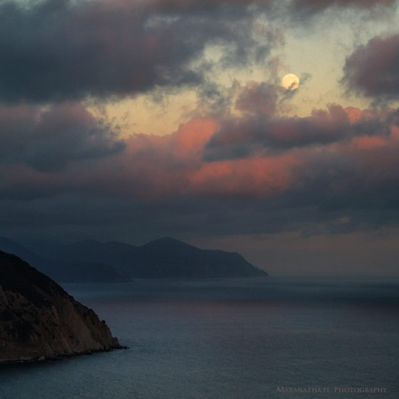Super Moon (Waxing gibbous 96.7%) over Punta Manara, Sestri Levante Italy.  Photo credit: Maranathi.it Photograpy