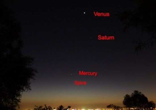 View larger. |  EarthSky Facebook friend Peter Wong in Adelaide, Australia captured this image of planets and the star Spica in the west after sunset on September 26, 2013.  As seen from the Southern Hemisphere - where it's spring now - the planets are straight up above the sunset.  Thank you, Peter!