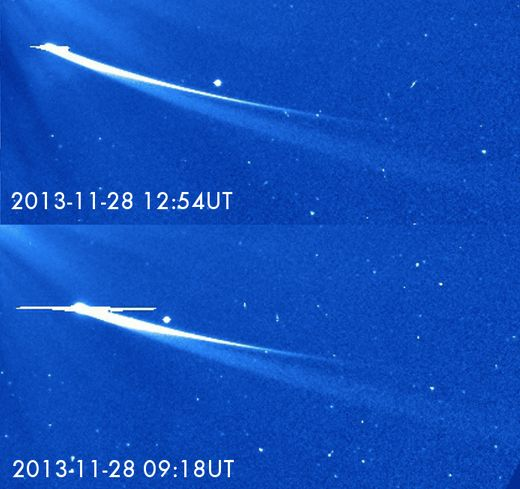 Once again comet ISON raises our hopes and then dashes then... perhaps for the final time. It has clearly started to fade dramatically, and this does not bode well for survival.  Image and caption via ESA/NASA, annotations by Karl Battams.