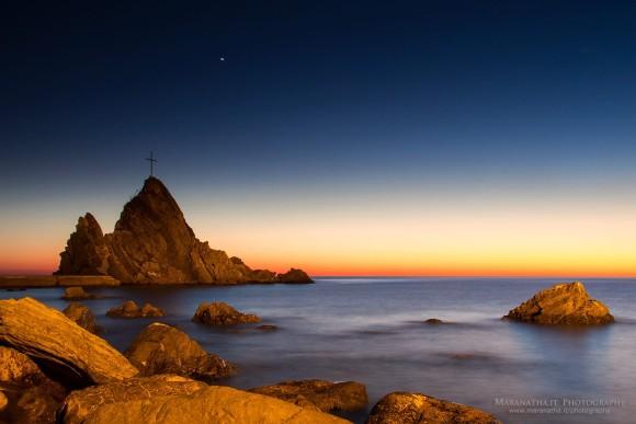 View larger. | Venus shining above the rock of Asseu, Gulf of Riva Trigoso, Sestri Levante, Ligurian Sea, Genoa, Italy, November 29, 2013, via Maranatha.it Photography.