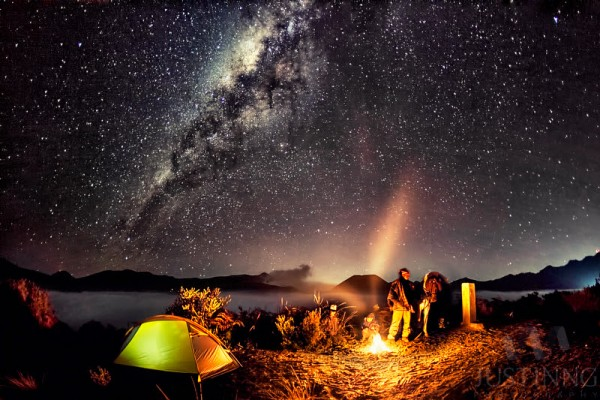 Looking Glass Falls Wallpaper Campfire Under Milky Way At Mount Bromo Today S Image
