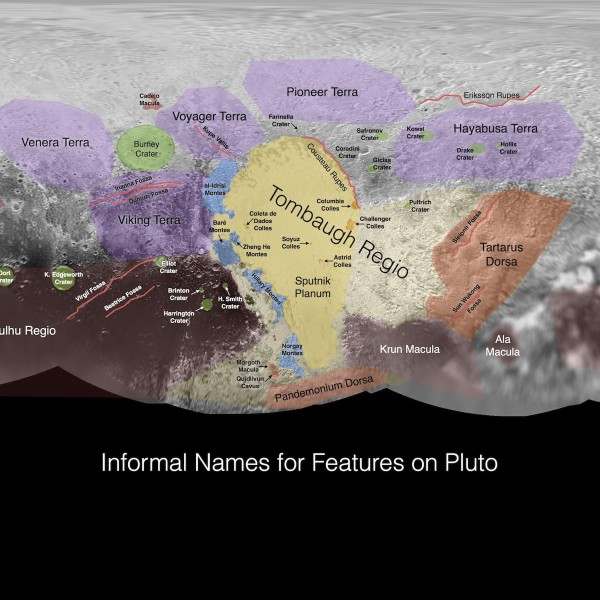 A portion of the first preliminary map on Pluto.