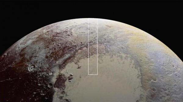 The area inside the rectangle is that viewed in these closest-yet images, returned from New Horizons.