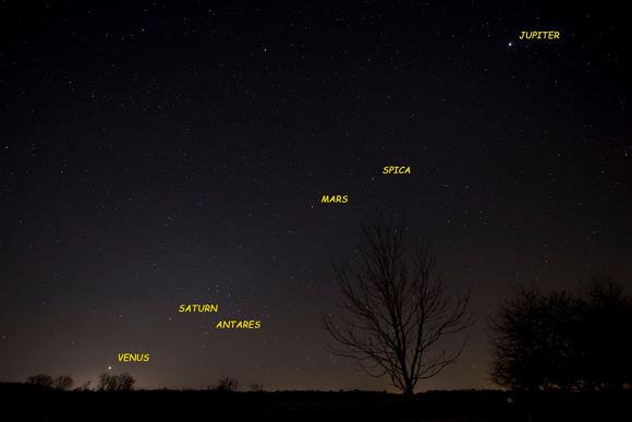 View larger. Ken Christison of North Carolina caught four of the five visible planets before dawn on January 18, 2016. We expect Mercury to become visible in the morning sky during the last week of January (or perhaps sooner). Seek for Mercury near the horizon and  on line with Venus and Saturn. Thank you Ken!
