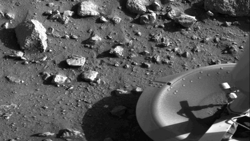 View full image. | First photograph ever taken from surface of Mars, by the Viking 1 lander shortly after it touched down on July 20, 1976. Image via NASA.