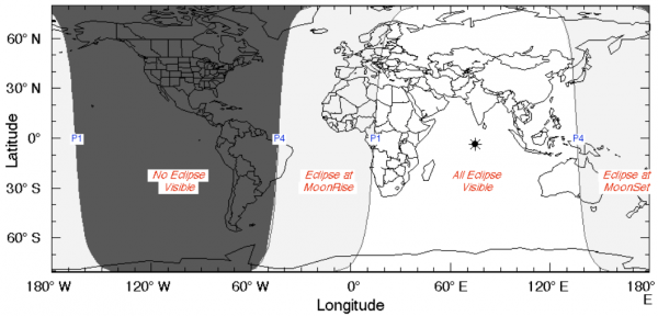View larger. As you cam see on the worldwide map, the penumbral lunar eclipse on September 16, 2016, is not at all visible from North America.