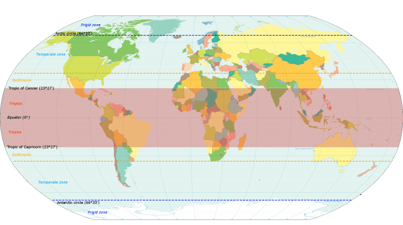 World map with tropics in pink with yellow dotted lines defining subtropics north and south.