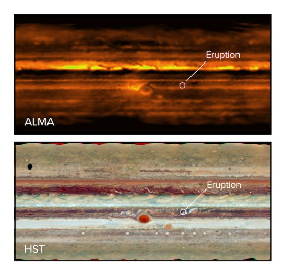 Upper picture dark orange and yellow; lower picture natural color, spot labeled Eruption.