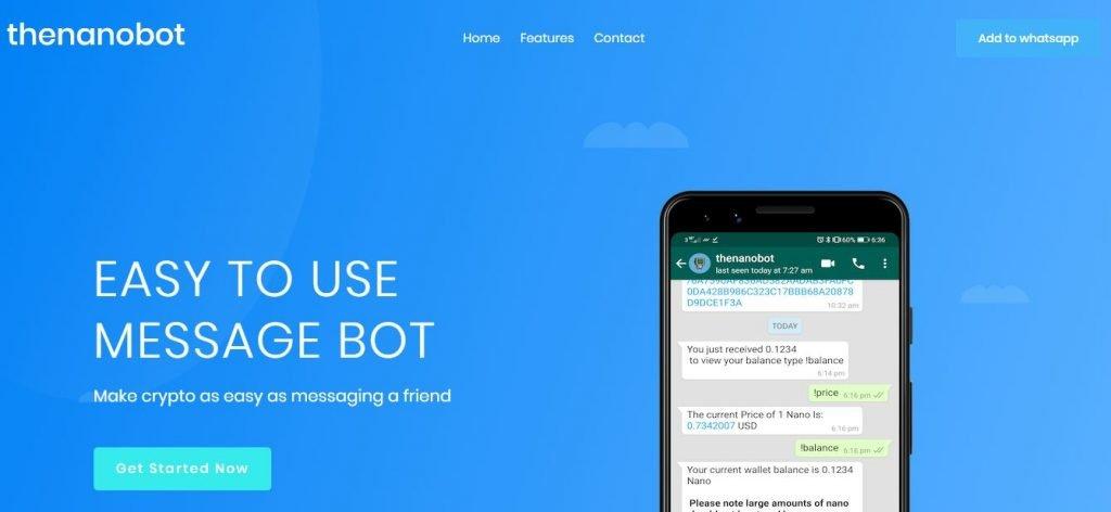 Nova dica de bot pode introduzir o Nano (NANO) para usuários do WhatsApp 1.6B 13