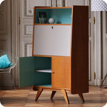 Vintage furniture  Desks  tables  50s secretary chest