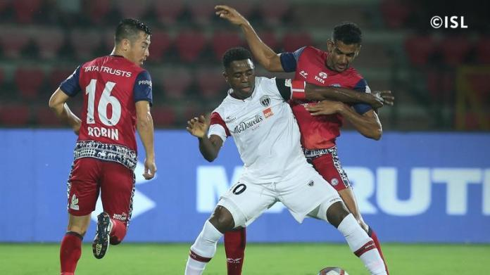 Down to 10-men, NorthEast United FC hold Jamshedpur FC to a draw