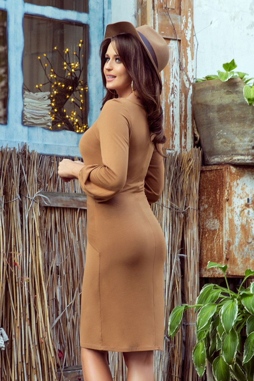 casual brown dress side -