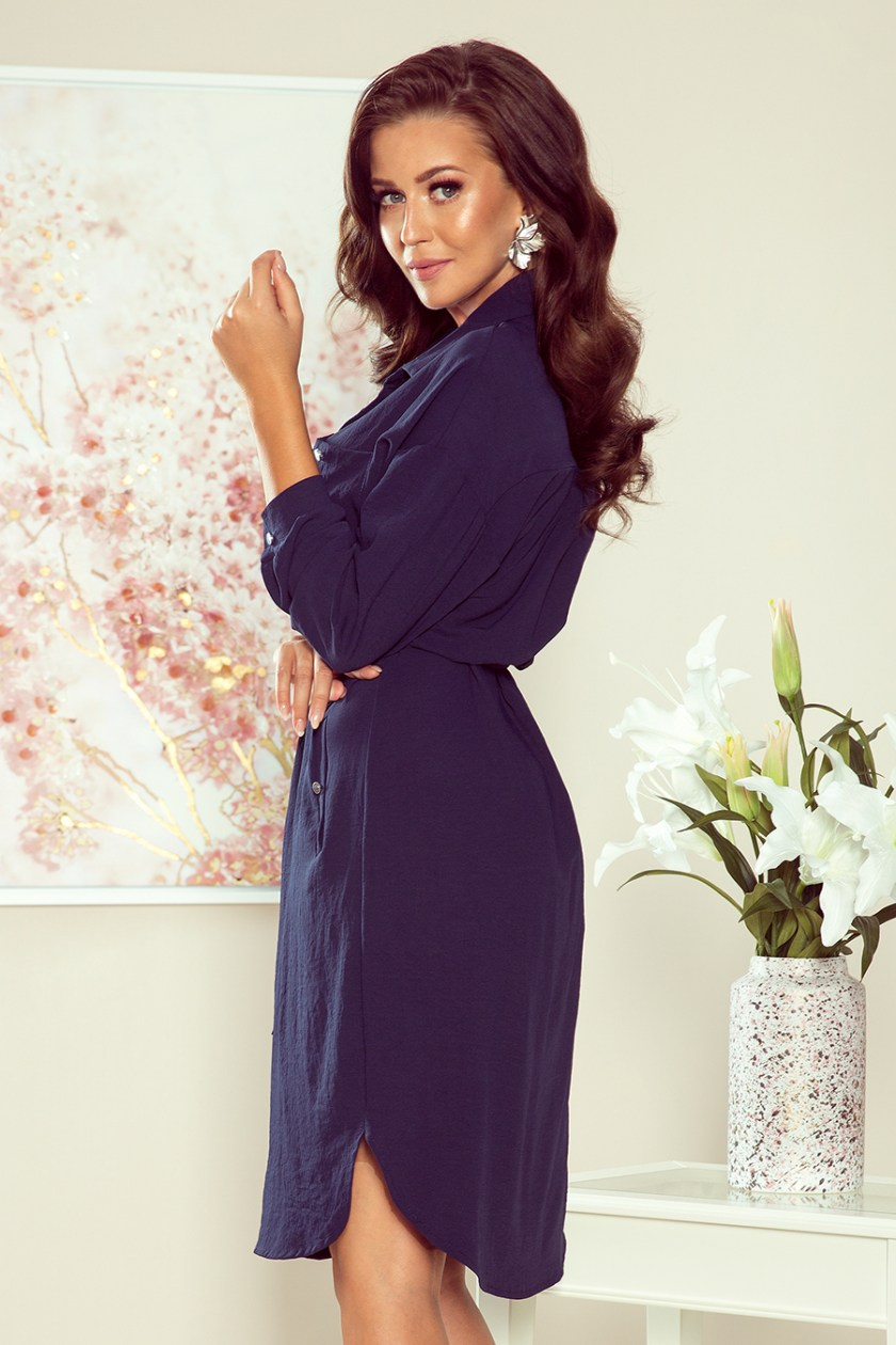 shirt dress navy side -