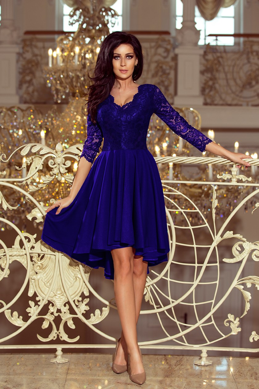 cocktail dress nude blue front -
