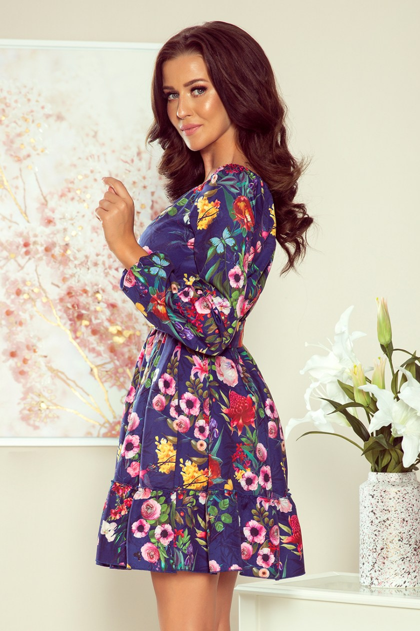floral dress navy back -