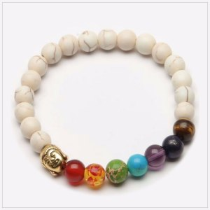 Chakra Bracelet in Natural Stones, Ivory, with Golden Buddha's Head Amulet