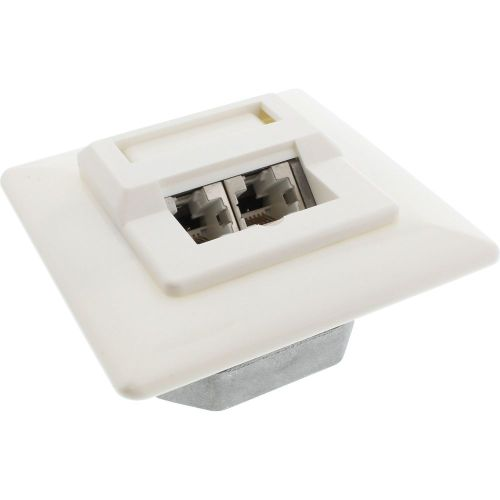 small resolution of inline cat 5e network box 2x rj45 for concealed installation white ral9010