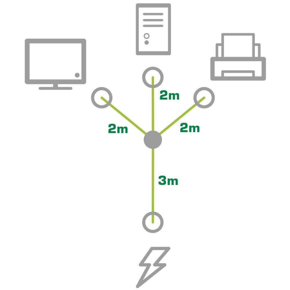 InLine® Y-Power Cable 1x Type F German Plug to 3x IEC Plug
