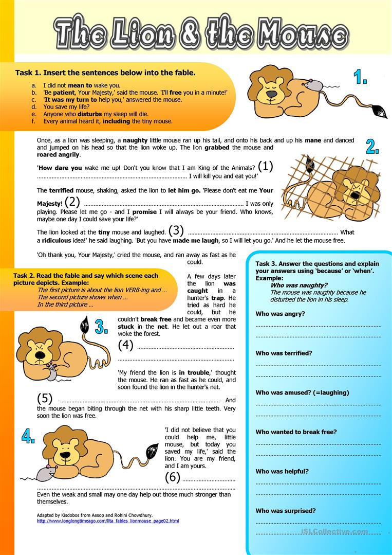 hight resolution of English ESL fables worksheets - Most downloaded (26 Results)