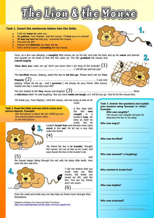 small resolution of English ESL fables worksheets - Most downloaded (26 Results)