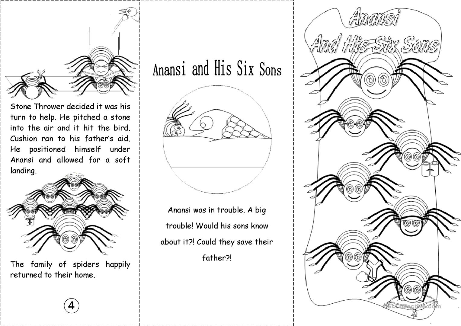 Anansi And His Six Sons Black Amp White Worksheet