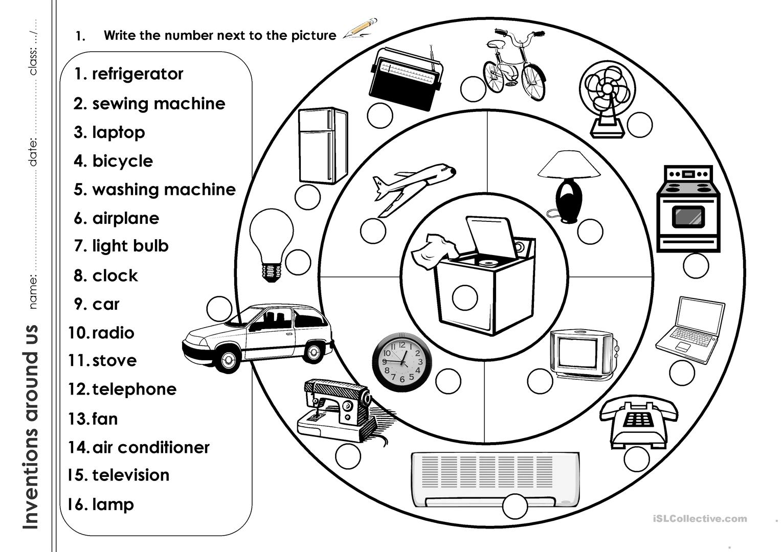 Inventions Around Us Worksheet