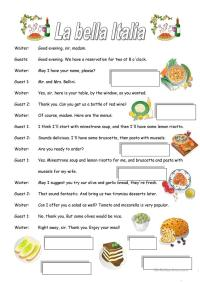 ITALIAN RESTAURANT worksheet
