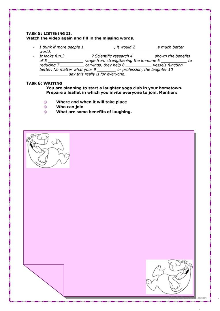 photo about Printable Yoga Worksheets known as Laughter Yoga Enjoyment Details