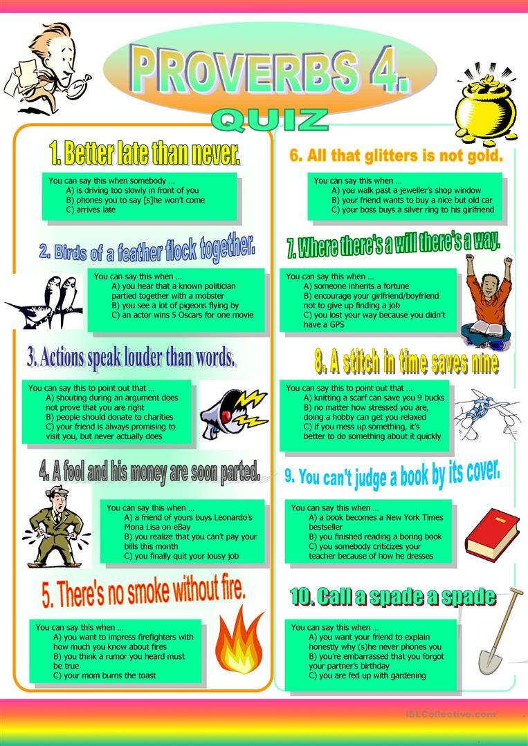 hight resolution of English ESL proverbs worksheets - Most downloaded (70 Results)