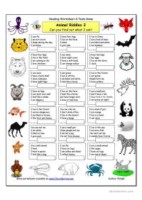 Animal Riddles 2 (Medium) worksheet