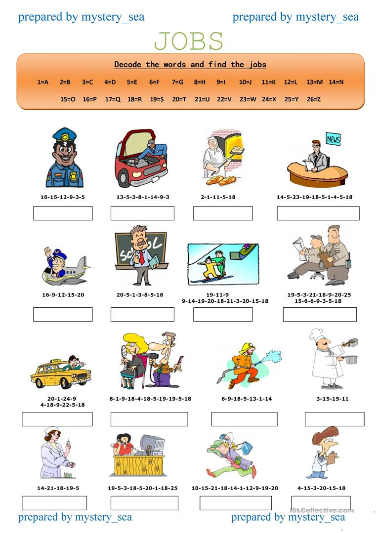 hight resolution of Decode the Jobs-1 - English ESL Worksheets for distance learning and  physical classrooms