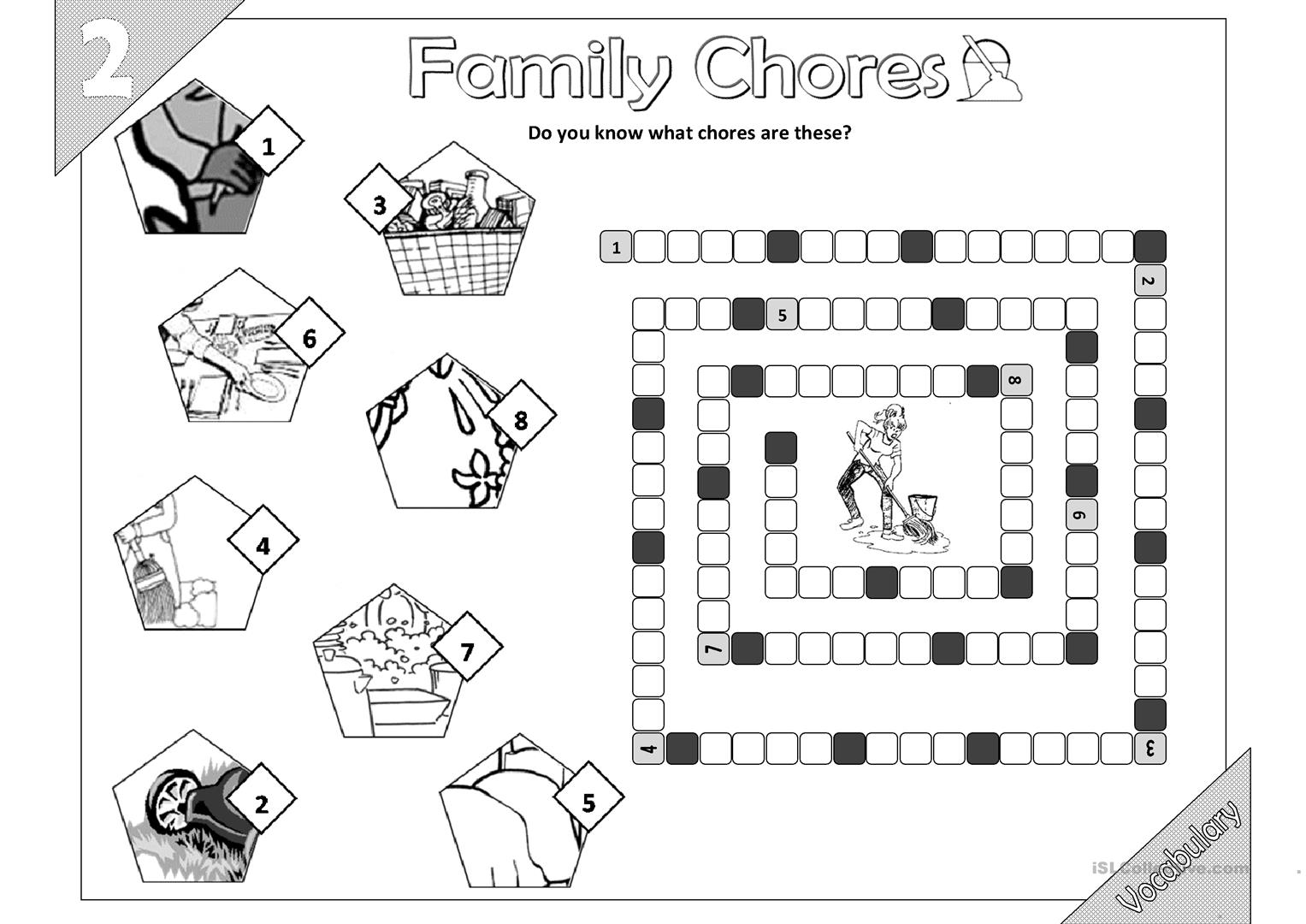 Family Chores Vocabulary 01 2pages
