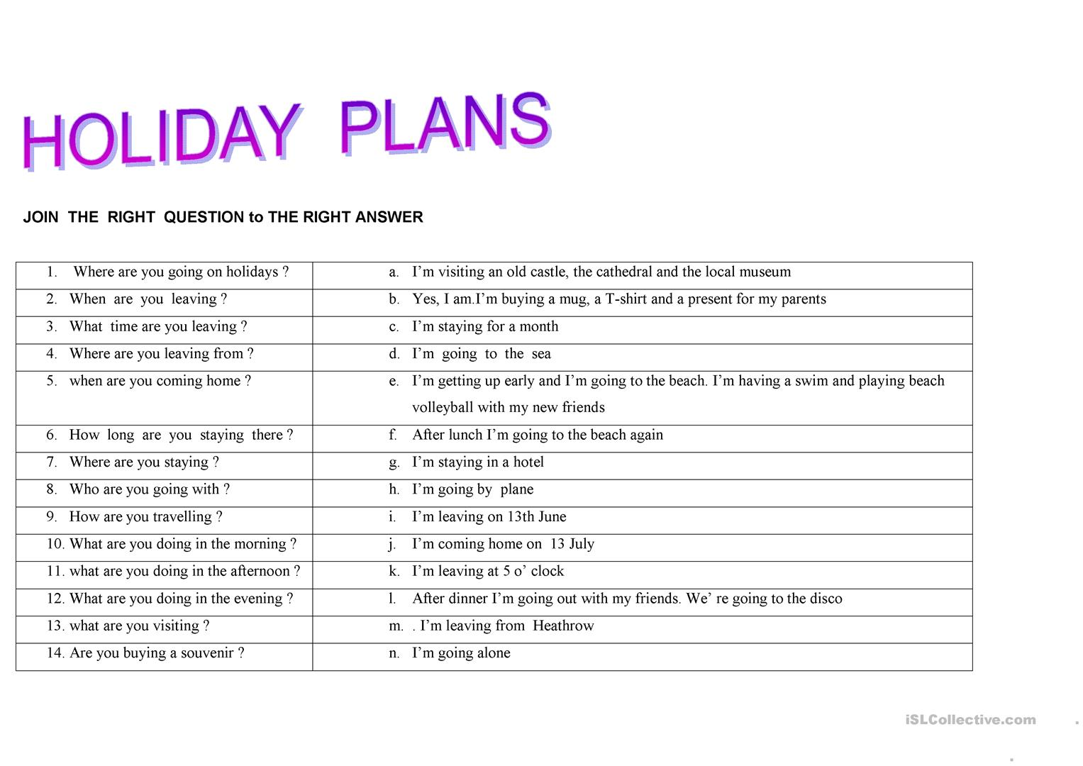 Holidays Plans Worksheet