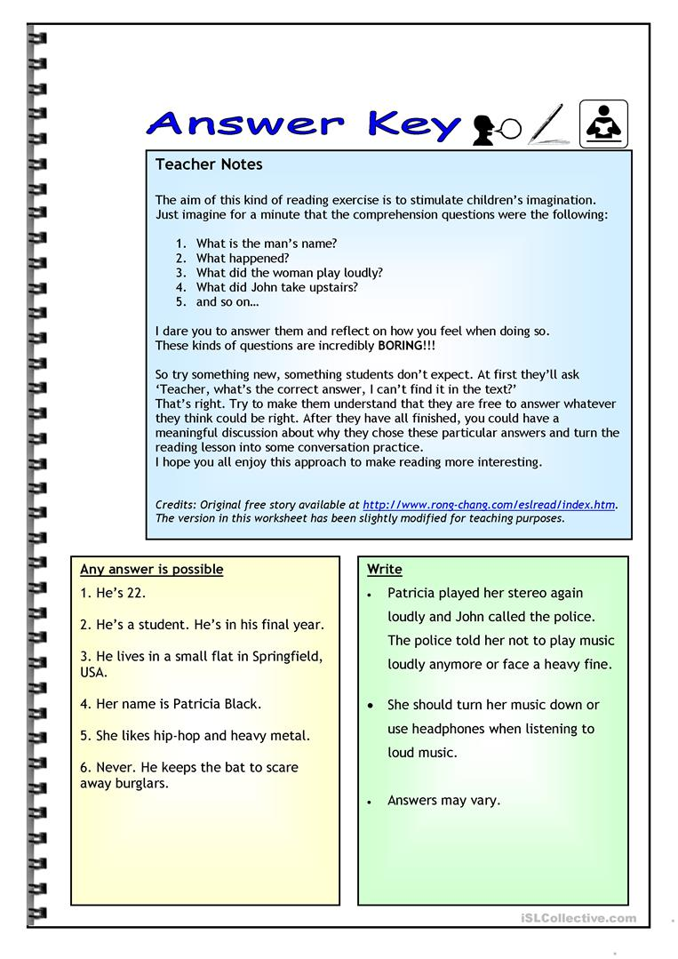 hight resolution of Imaginative Reading Comprehension - A Noisy Neighbor - English ESL  Worksheets for distance learning and physical classrooms