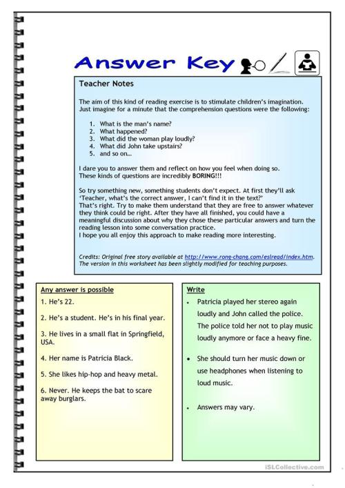 small resolution of Imaginative Reading Comprehension - A Noisy Neighbor - English ESL  Worksheets for distance learning and physical classrooms
