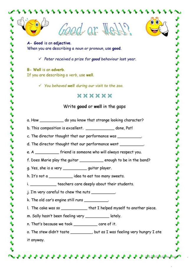 Good or Well? - English ESL Worksheets for distance learning and
