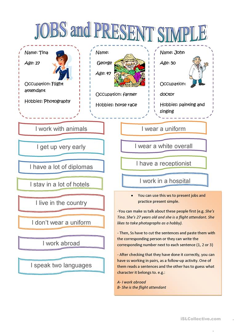 hight resolution of Jobs and Present simple - English ESL Worksheets for distance learning and  physical classrooms