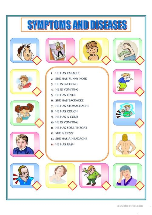 small resolution of symptoms - English ESL Worksheets for distance learning and physical  classrooms