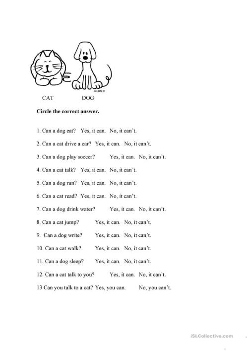 small resolution of Can/Can't Cat and Dog - English ESL Worksheets for distance learning and  physical classrooms