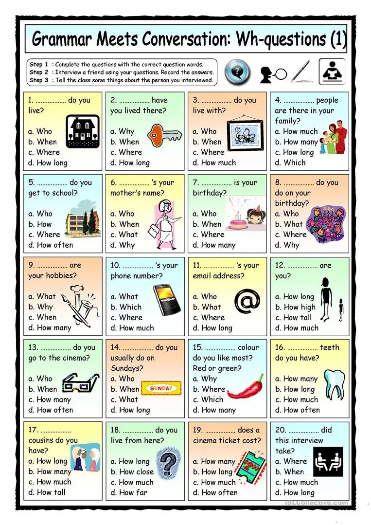 hight resolution of Grammar Meets Conversation: Wh-questions (1) - Getting To Know You -  English ESL Worksheets for distance learning and physical classrooms