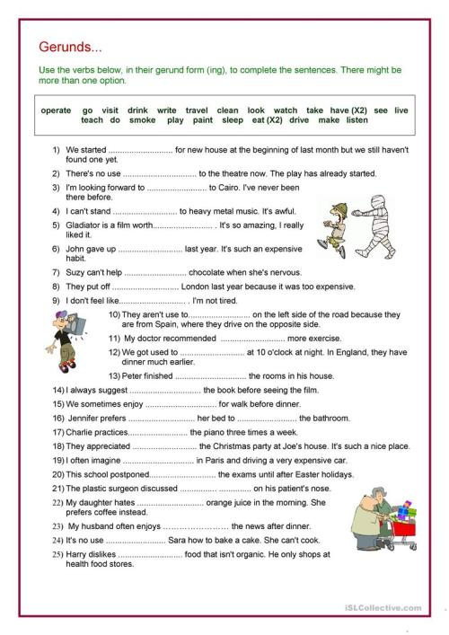 small resolution of Verb + Gerund Review - English ESL Worksheets for distance learning and  physical classrooms