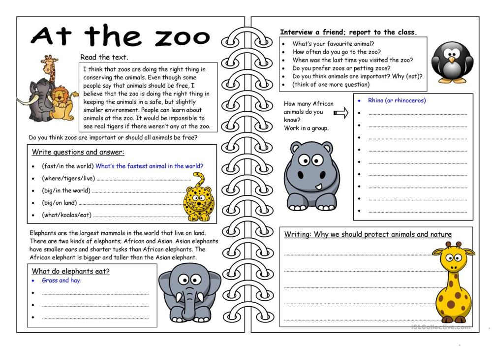 medium resolution of English ESL zoo worksheets - Most downloaded (121 Results)