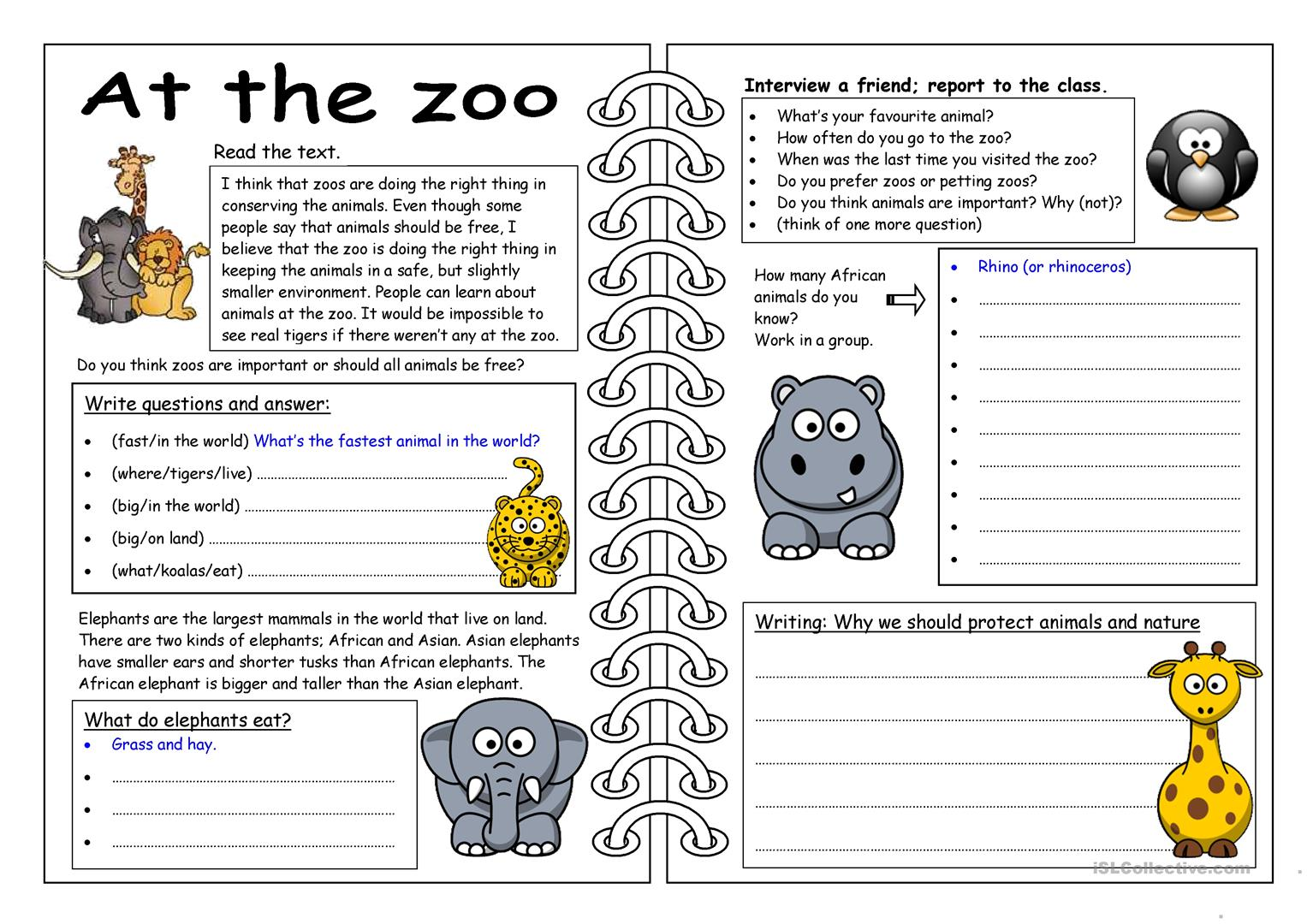 hight resolution of English ESL zoo worksheets - Most downloaded (121 Results)