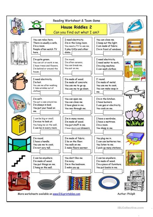 small resolution of House Riddles (2) - Medium - English ESL Worksheets for distance learning  and physical classrooms
